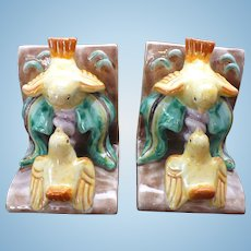 Vintage Austrian Majolica Bird bookends
