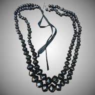 Victorian French Jet Double strand necklace.