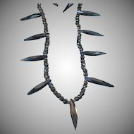 Victorian French Jet and Vulcanite mourning  necklace