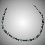 Jadeite and Nephrite jade necklace 14 kt white gold clasp