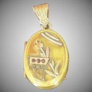 Victorian Aesthetic movement Bohemian garnet locket