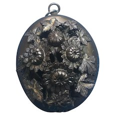Victorian Black Gutta Percha Mourning locket