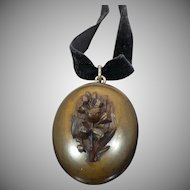 Victorian Gutta Percha Tulip locket