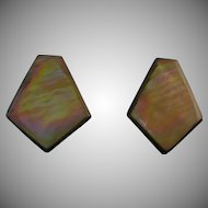 Vintage iridescent shell clip back earrings