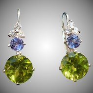 Custom Peridot Tanzanite in 14 karat White Gold earrings