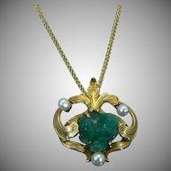 14 KT Arts & Crafts Chrysoprase rough pendant