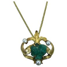 14 KT Arts & Crafts Chrysoprase rough pendant