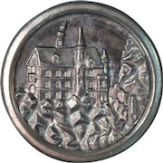 Vintage 1 1/4 inch black and silver tone picture button