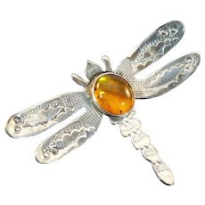 Vintage Grady Alexander Sterling and Amber butterfly pin