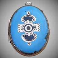 Victorian blue Enamel mourning locket with baby hair