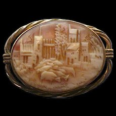 Vintage cattle grazing by city Cameo brooch - Red Tag Sale Item