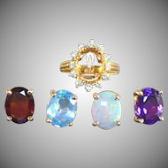 Vintage 14 KT changeable center stone and diamond ring