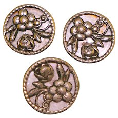 Vintage set of 3 flower mirror back buttons