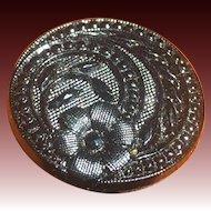Victorian ornate 7/8 inch black glass button