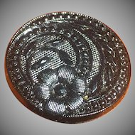Victorian ornate 7/8 inch black glass button