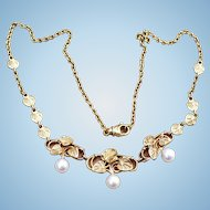 Vintage 14 karat gold and Akoya cultured pearl necklace
