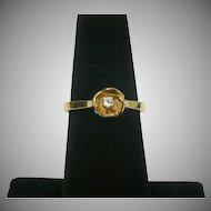 Vintage 14 karat gold and diamond rose ring