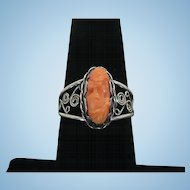 Sterling Coral cameo ring 1968