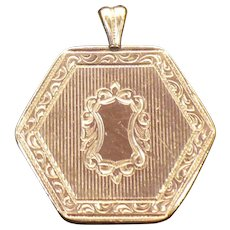 Victorian 14 kt rolled gold plate hexagon pendant