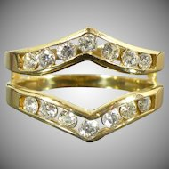 Vintage .75 CTW Diamond ring guard 14 karat gold