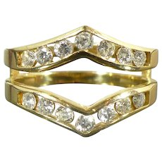 Vintage .75 CTW Diamond ring guard 14 karat gold