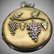 Victorian rolled gold grape motif locket