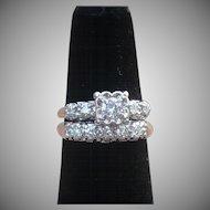 Vintage 14 karat white gold and diamond wedding set