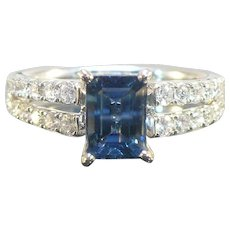 Natural Sapphire and Diamond 14 karat white gold ring.