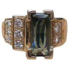 Vintage custom made Tourmaline and diamond 14 karat gold ring