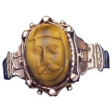 Victorian tigers eye cameo ring in 14 karat rose gold