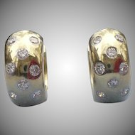 Vintage 14 karat gold and diamond huggie earrings .50 CTW
