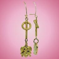 Vintage lovebird dangle earrings with 14 karat ear wires