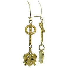 Vintage lovebird dangle earrings with 14 karat ear wires
