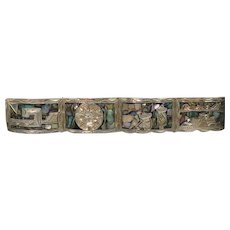 Vintage Sterling and inlaid Abalone Mexican bracelet