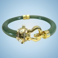 Vintage jade bangle with cultured Akoya pearls in 14 kt gold