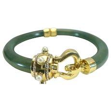 Vintage jade bangle with cultured Akoya pearls