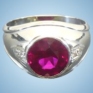 Vintage 14 karat white gold Ruby and Diamond gentlemans' ring Circa 1960