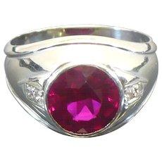 Vintage 14 karat white gold Ruby and Diamond gentlemans' ring Circa 1960
