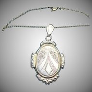 Victorian Style Vermeil locket with gold filled chain
