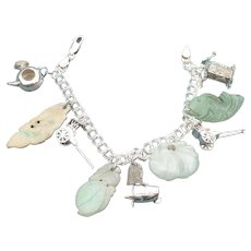 Vintage Sterling Asian theme charm bracelet with Jade