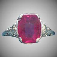 Vintage 14 karat white gold filigree synthetic ruby Art Deco ring
