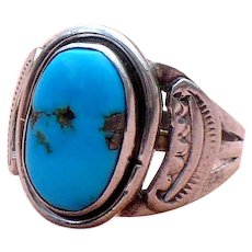 Navajo Turquoise and sterling Gentlemans' ring by Terry Howard