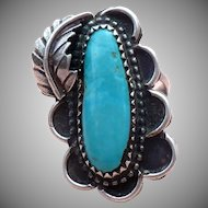 "Navajo Turquoise and sterling ring signed ""ITC"""