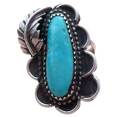 """Navajo Turquoise and sterling ring signed """"ITC"""""""