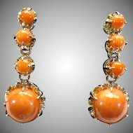Victorian style coral earrings 14kt gold with 1/20th 12 kt gold filled screw backs