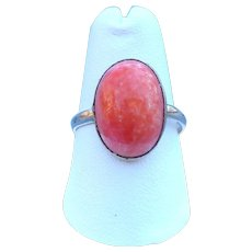 Victorian style rolled gold and imitation coral glass ring