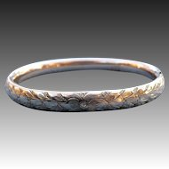 Victorian engraved 14 karat rolled gold bangle