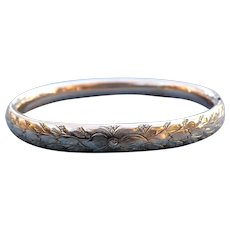 Victorian engraved 14 karat rolled gold bangle