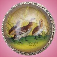 Vintage Hand painted Essex Crystal brooch