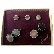 Vintage Mens' cuff link and stud set by Swank